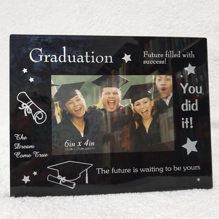 Graduation Photo Frame Black Glass